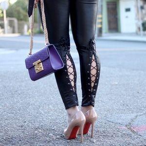 ASOS Lace Up Faux Leather Liquid Leggings